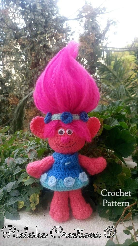 Pdf Crochet Pattern- Poppy Troll Amigurumi Price is for the PATTERN only, not the finished product. Finished Size: Approximately 10-25 cm tall without Hair *Worsted weight yarn and hook size: 3,50mm* There is no shipping charge for this item, as it is a PDF file and will be sent almost