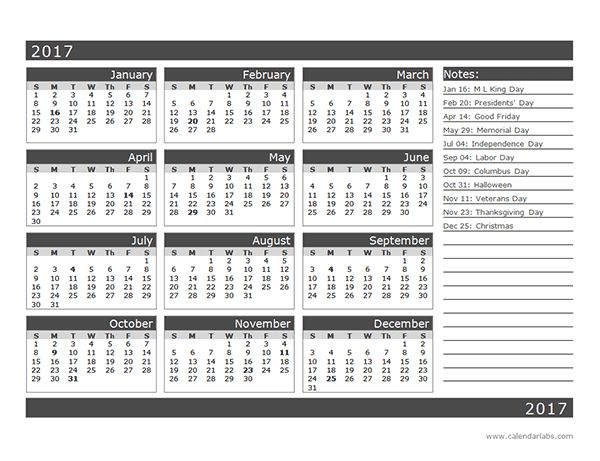 Month Calendar Template One Page  Organization