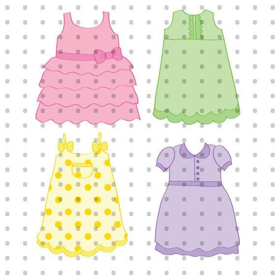 Little Dresses Royalty Free Clipart Set
