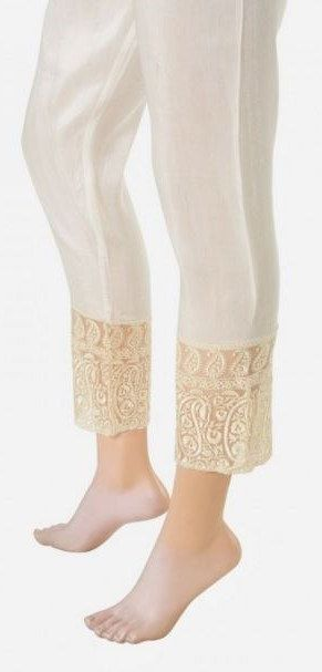 Silk Embroidered Cigarette Pants Straight Cigar by KaamdaniCouture