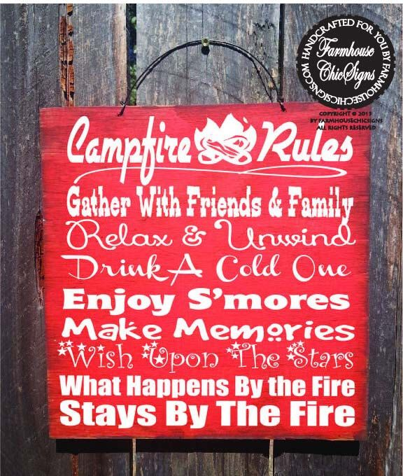 campfire sign, camping decor, camping sign, camp decor, camping, camper sign, campfire decor, campfire rules sign by FarmhouseChicSigns on Etsy https://www.etsy.com/listing/223414274/campfire-sign-camping-decor-camping-sign