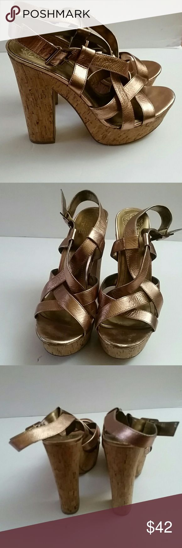 VINCE CAMUTO rose gold strappy sandals sz 10 Platform strappy Rose gold sandal A Spring and Summer treat   Some signs of wear  Sz 10 Vince Camuto Shoes Platforms