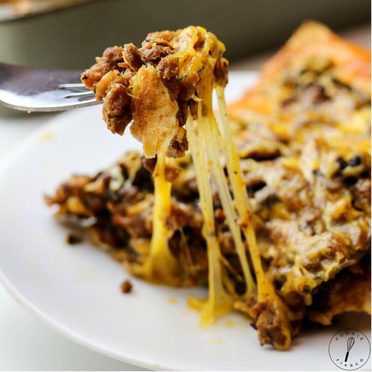"Healthy Mexican Lasagna ""Foodie Fiasco"" Recipost Reciposter ""California Food Blogger"""