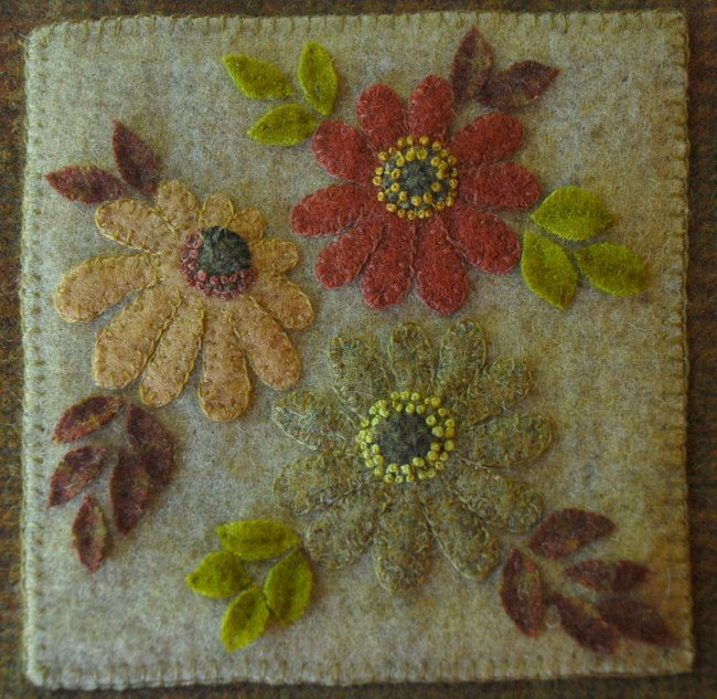 Hand Dyed Wool Applique Primitive Wall By