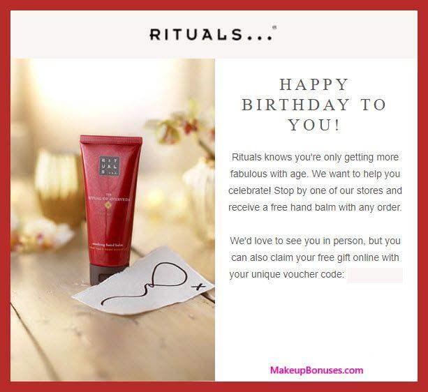 Rituals Birthday Gift Makeupbonuses Com Rituals See This And 100 More Free Beauty Birthday Gi Free Birthday Gifts Free Beauty Products Free Birthday Stuff