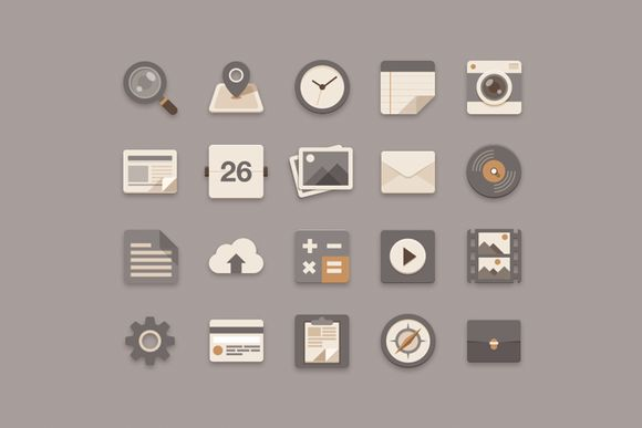 Icons ~ Flat Icons Brownie Theme by Sunbzy ~ Creative Market