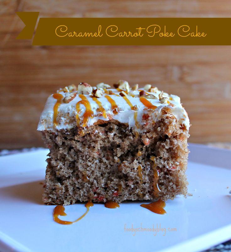 Caramel Carrot Poke Cake by Foodyschmoodyblog.com #cake #dessert