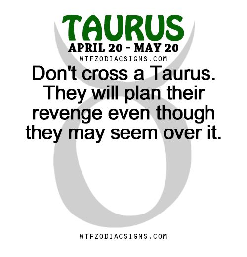 Don't cross a Taurus. They will plan their revenge even though they may seem over it. - WTF Zodiac Signs Daily Horoscope!