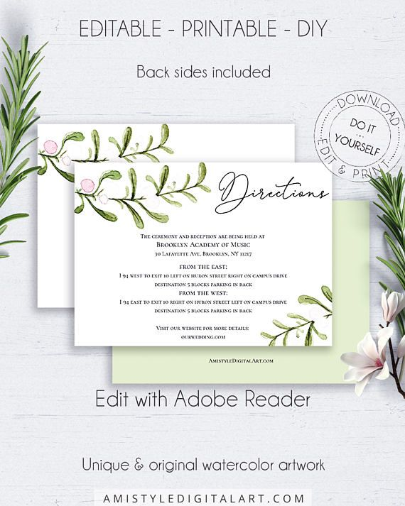 Greenery Wedding Directions Card, with nice and bright watercolor botanical design which perfectly matches into your rustic wedding theme.This wedding directions insert card template is an instant download EDITABLE PDF pack so you can download it right away, DIY edit and print it at home or at your local copy shop by Amistyle Digital Art on Etsy