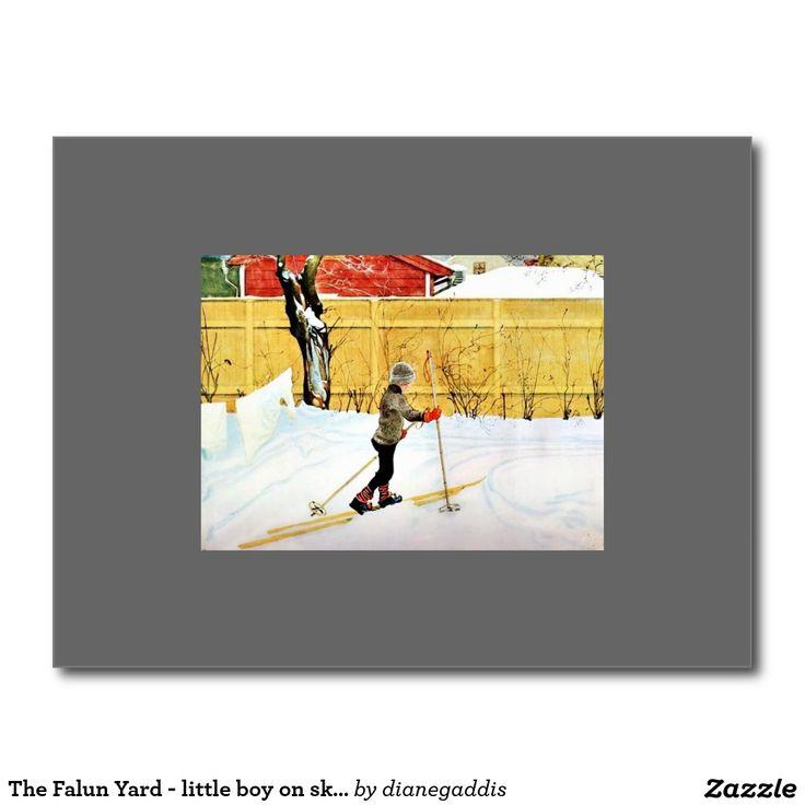 The Falun Yard - little boy on skis Postcard