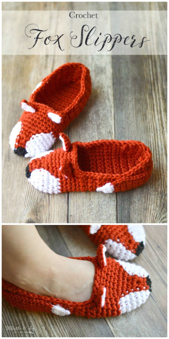 Crochet Gorgeous Fox Slippers – Free Pattern - 50 Free Crochet Fox Patterns - Crochet Fox Hat - Page 2 of 3 - DIY & Crafts