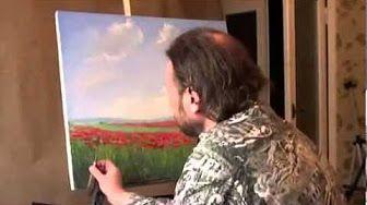 маковое поле, художник Сахаров, живопись для начинающих - YouTube