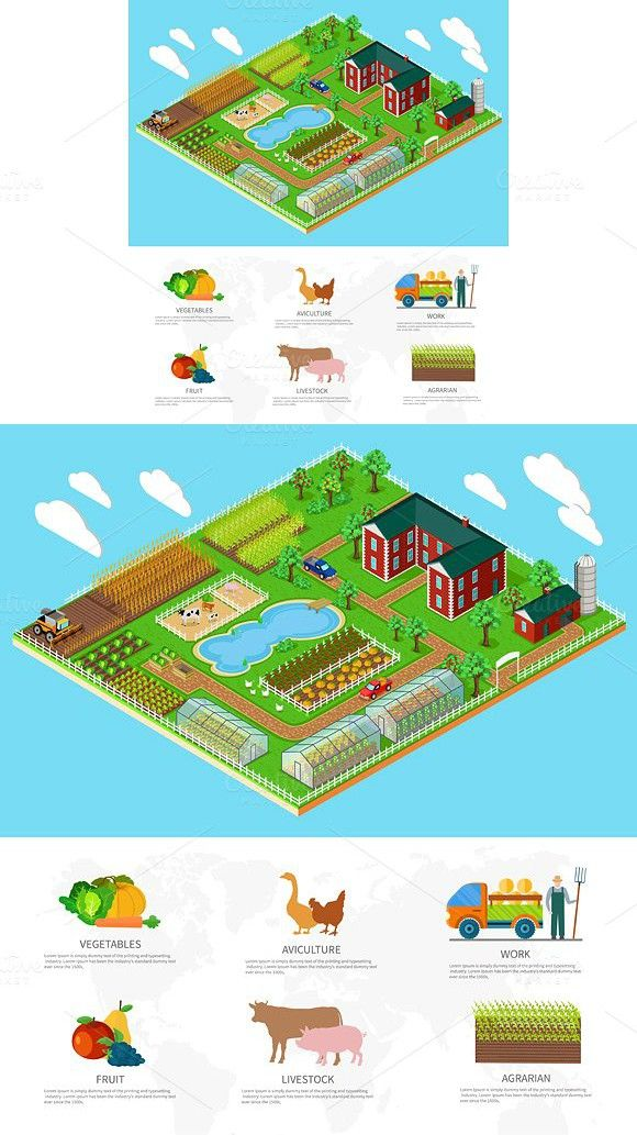 3d Icon Flat Farm Agriculture. Business Infographic. $6.00