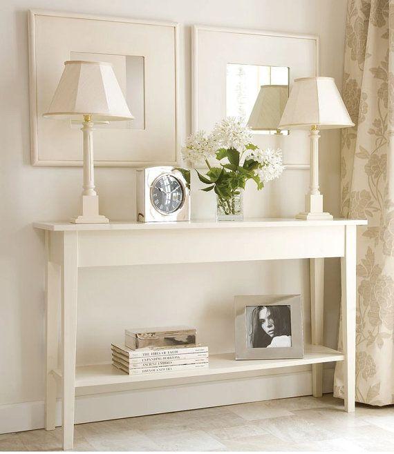 """Blanc console en bois, tables foyer de table de la salle, petite console blanc, table console étroite, salle tables de console """"Princesse""""."""