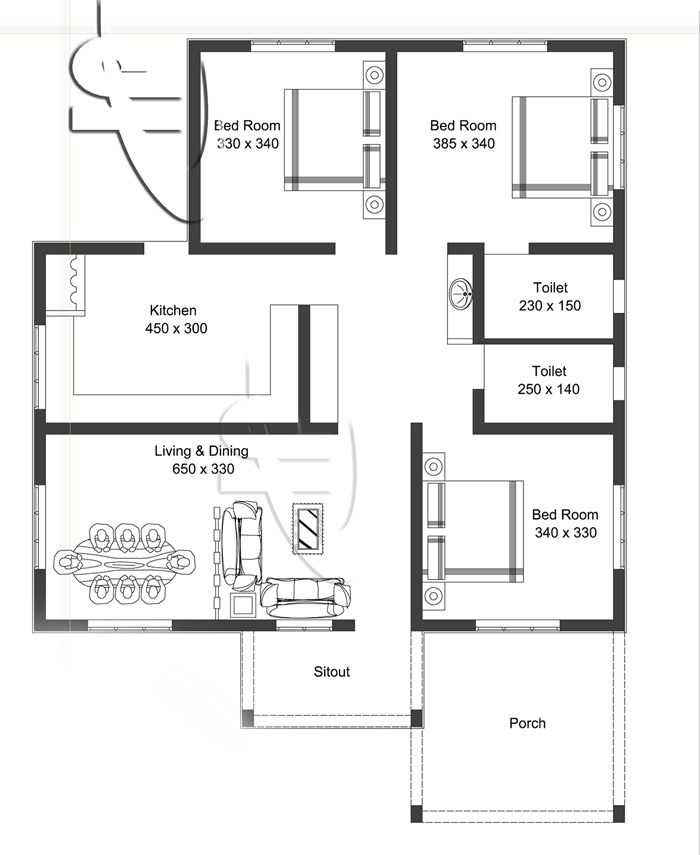 Layout Plan 3 Bedroom House In 2020 Single Floor House Design House Roof Design My House Plans