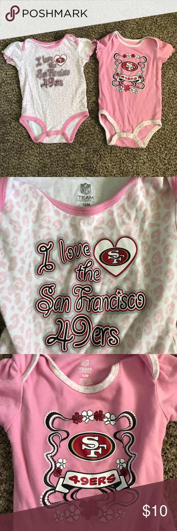 Pair of Girls SF San Francisco 49ers Onesies Darling girls SF Forty-Niners onesies with ruffle sleeves. Excellent used condition. Reasonable offers accepted, no lowballs or trades please. NFL Team Apparel One Pieces Bodysuits