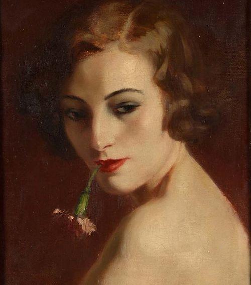 Henri Thomas (1878-1972) - Portrait de jeune femme à l'oeillet
