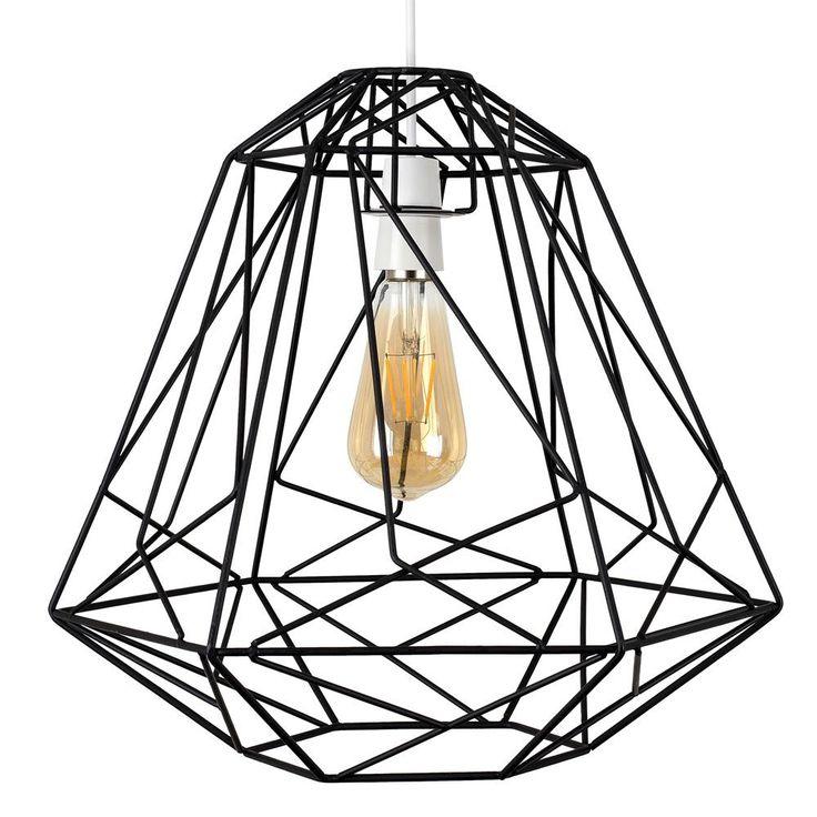 Geometric Cage Pendant Black