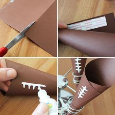 make football paper cones | To make, just use brown construction or craft paper. Place a piece of ...