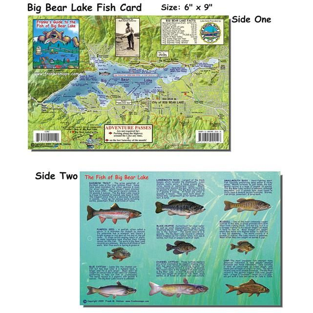 big bear lake fishing map Franko Maps Big Bear Lake Creature Guide 6 X 9 Inch Big Bear big bear lake fishing map