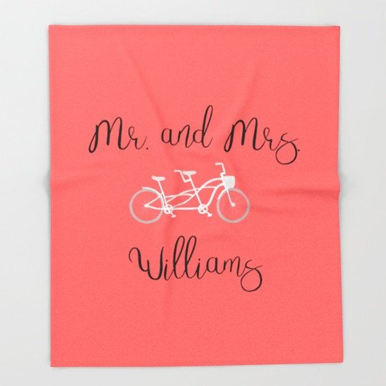 Bicycle Decor, Anniversary Gifts for Men, Gift For Newlyweds, Personalized Throw Blanket, Mr and Mrs Decor, Cute Couple Gifts