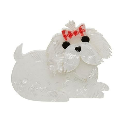 """Erstwilder Limited Edition Molly the Maltese Brooch. """"Please don't tease her. Our Molly is the cuddliest of companions but can be a little sensitive about her coat."""""""