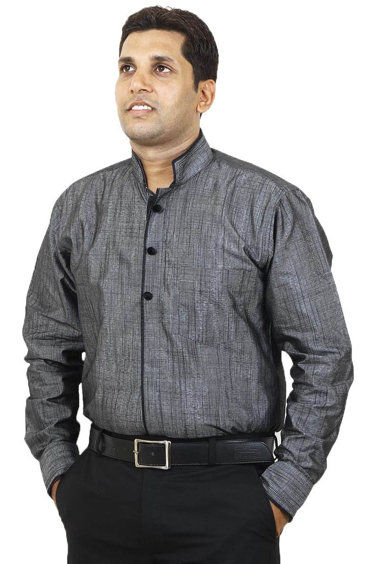 http://tinyurl.com/jj9v2g5 Buy Online Gray Linen Full Sleeves & Designer Party Wear Shirts only on GetAbhi.com