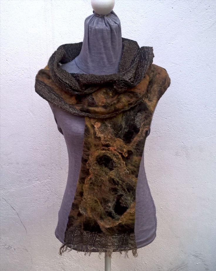 Linen base scarf, felt painted with black merino and hand dyed orange silk hankies.