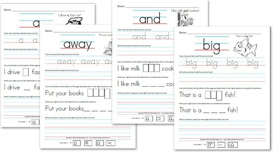 for Kindergarten Worksheets: sight Sight kindergarten Sentences worksheets Free (Pre Primer) sentences  word Word