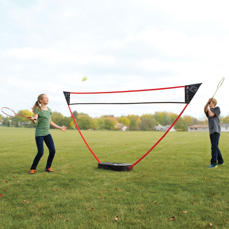 "This is an instant badminton court; it requires no tools for setup. It has a regulation-height 11 1/2' wide court. The net comes apart as easily as it assembles and all components store neatly in the zippered nylon carrying case. Includes four rackets and two high-visibility shuttlecocks. For up to four players ages 8 and up. Carrying case: 28 1/5"" L x 13 1/2"" W x 5 1/2"" D. (9 lbs.); Item #84557; $99.95"