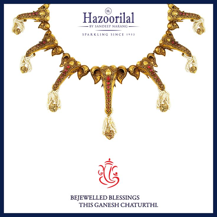 Bejewelled blessings this Ganesh Chaturthi.  #HazoorilalBySandeepNarang #HazoorilalCelebrates #GaneshChaturthi #22kt #GoldJewellery #IndianJeweller #TempleJewellery #Rubies #Pearls #HLbySN #ItcMaurya #DlfEmporio #HazoorilalJewellersGK #Hazoorilal