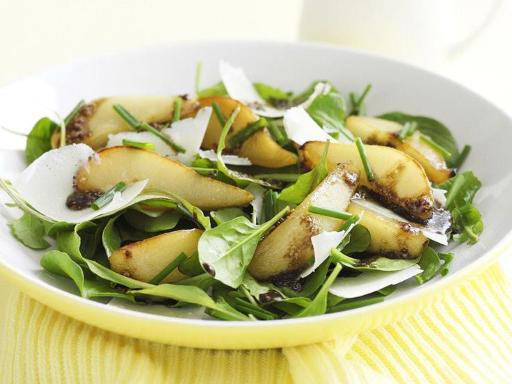 Roasted pears are soft, sweet and somehow autumnal in flavour, they're also complemented beautifully by the balsamic and mustard dressing on this pear and baby spinach salad.