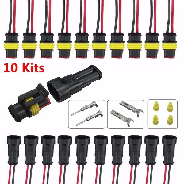 10 Kits 2 Pin Way Sealed Waterproof Electrical Wire Connector Plug Car Truck Set
