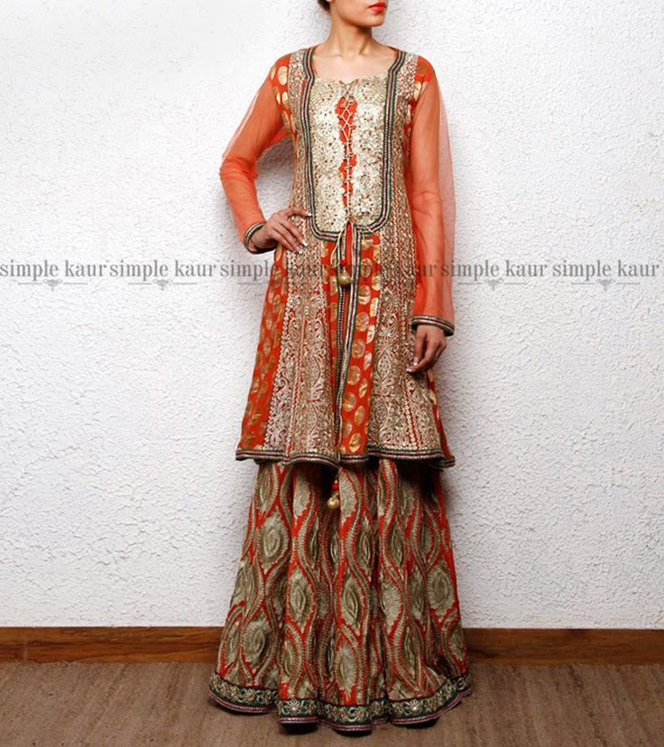 One from my #pastcollections, this piece had a tremendous impact despite its subtle earthy tones.  Shop on at http://www.simplekaur.com/Past-Collections/Orange-embroidered-lehenga-with-anarkali-short-shirt-id-2572195.html or visit Simple Kaur SCO 481, Sector 35 C, Chandigarh.