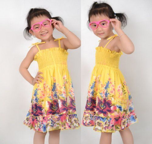 New Girls Dress Smocked Halter Yellow Kids Clothes Size 2-10  Price : $8.99 http://www.sunnystoreworld.com/Girls-Smocked-Halter-Yellow-Clothes/dp/B00BLV088Q