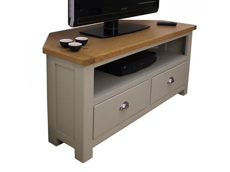 Grey Painted Oak Corner TV Unit   Oak City
