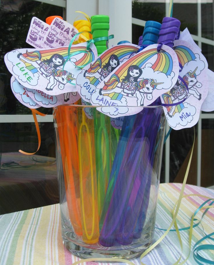 Rainbow Unicorn Party, Bubble Wand Favors.