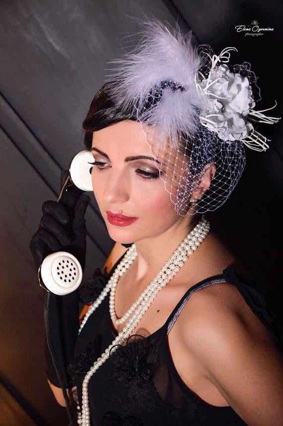 Bridal Fascinator Birdcage Veil wedding bridal white flowers #Bridal #Fascinator #Birdcage #Veil #wedding #white #flowers #blusher #hairvine #Flapper #1920s #gatsby #headpiece #Roaring #20s 45$