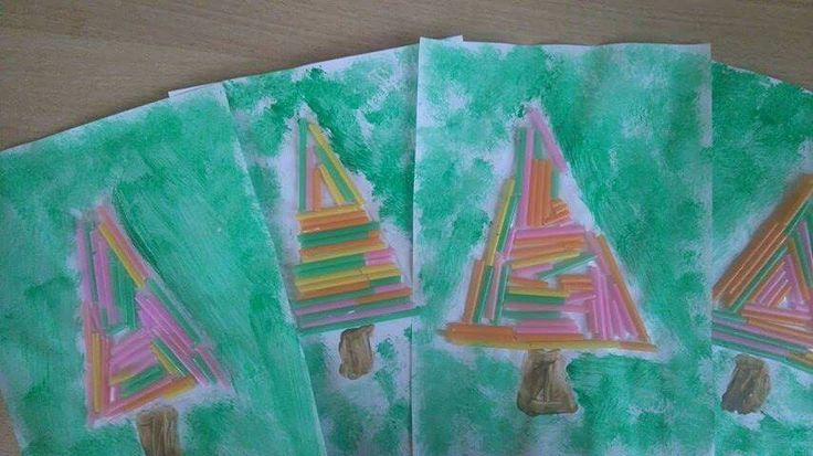 Δέντρο με καλαμάκια # χρισουγεννιατικες  κατασκευές για παιδιά