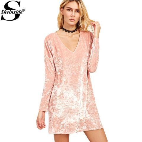 Casual Dresses for Woman Long Sleeve Pink Velvet V Neck