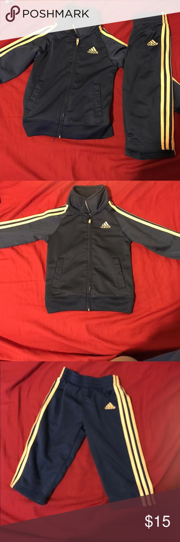 Blue & yellow adidas jogging suit Blue & yellow adidas jogging suit size 24 months gently used pet & smoke free home. Adidas Matching Sets