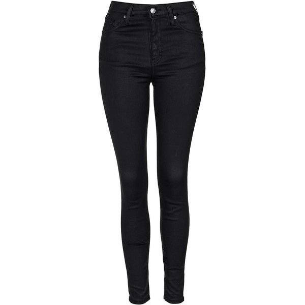 TOPSHOP MOTO Black Coated Jamie Jeans ($80) ❤ liked on Polyvore featuring jeans, black, high waisted skinny jeans, button-fly jeans, skinny ankle jeans, high rise jeans and black jeans
