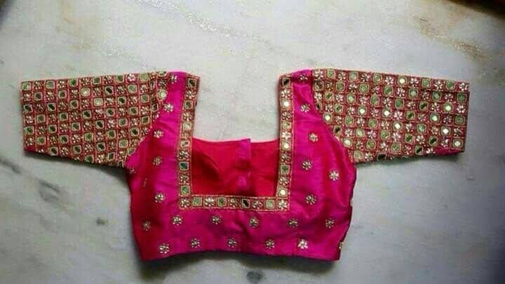 Mirror work Blouse in Pink