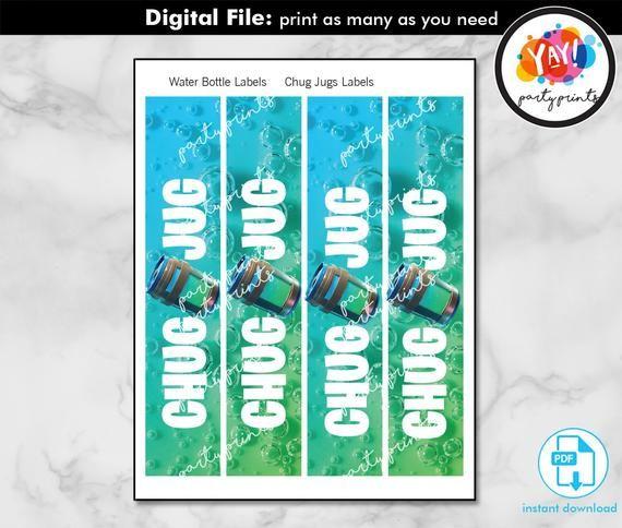 chug jug label printable digital instant download pdf file