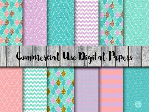DP180-mermaid-digital-paper-download-mermaid-background-scrapbook-fish-scales