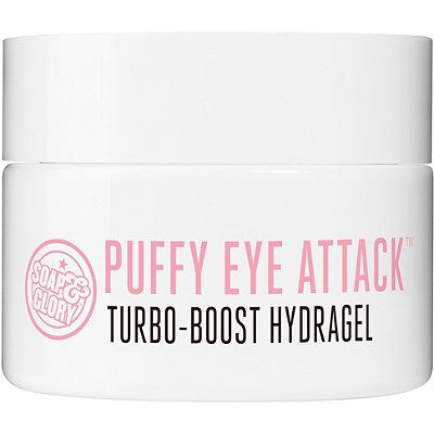 Formulated to help reduce the appearance of dark circles under the eyes with BOTANICAL PEPTIDES, OXYGINSENG; TECHNOLOGY, HYPER HYDRATORS and COOL-CUCUMBER-X.  Soap & Glory Puffy Eye Attack is a fast-acting and skin-firming, GENIUS IN A JAR! Helps tackle the appearance of dark circles and puff.