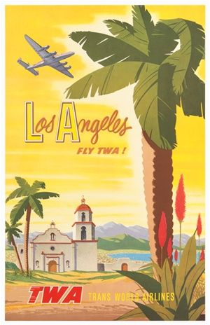 TWA San Francisco poster  Bob Smith 1956 America USA - Vintage Travel Posters Reproductions. American travel poster features old church mountains and lake view large palm tree with a plane flying through the yellow sky. Advertising Print. Classic Posters.