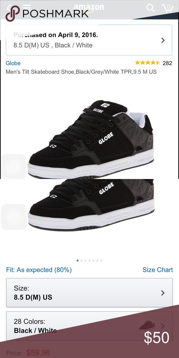 Globe skate shoes Black and white. Brand spanking new, never worn and come with box. Just bought them two months ago but I got another pair that fit better that's why I'm selling these.size 8.5 men's fits size 9 women's Globe Shoes Sneakers