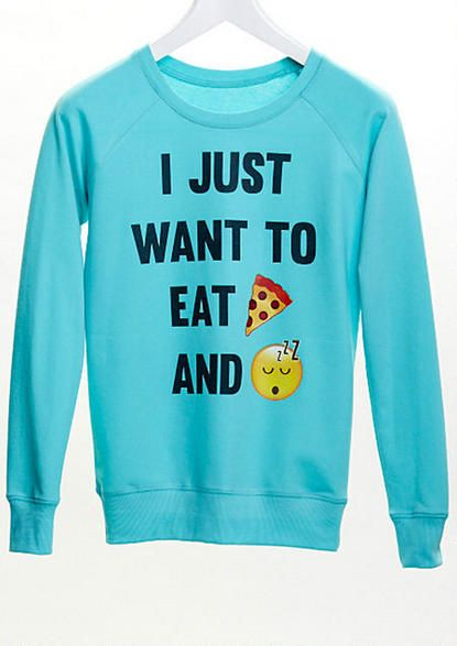 i just want to eat pizza and sleep emoji sweatshirt - a