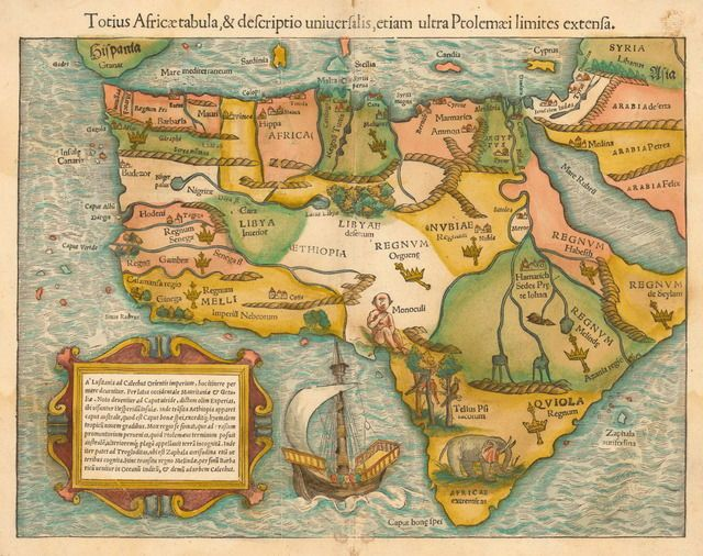 1554 map of Africa by Sebastian Munster. This is one of the earliest maps of the whole content after Vasco Da Gama's travel to India and back in the late 1490s. The map reveals European ignorance about Africa, including one-eyed creatures in west Africa and the mythical Christian kingdom of Prester John in the east.